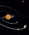 """Two exoplanets orbiting """"backwards"""" in the system K2-290. Illustration: Christoffer Grønne."""